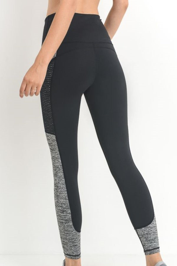 Black Color Block Dotmesh High Waist Full Leggings