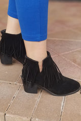 Black Faux Suede Fringe Ankle Booties