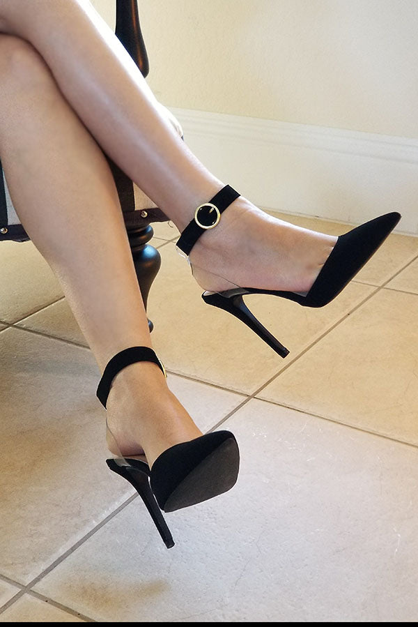 Black Faux Suede Ankle Strappy Heels