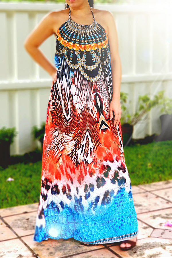 Embellished Tanzania Necklace Maxi Dress