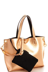 Gold Reversible Faux Leather Mini Tote with Coin Purse