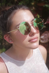 Gold Round Mirrored Sunglasses Pinkish Lens