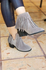 Gray Faux Suede Fringe Ankle Booties