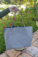 Grey Perforated Pattern Whipstitched Faux Leather Tote
