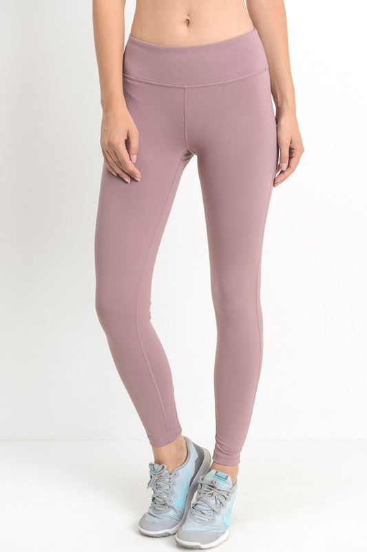 Mauve High Waist Crisscross Cutout Full Leggings