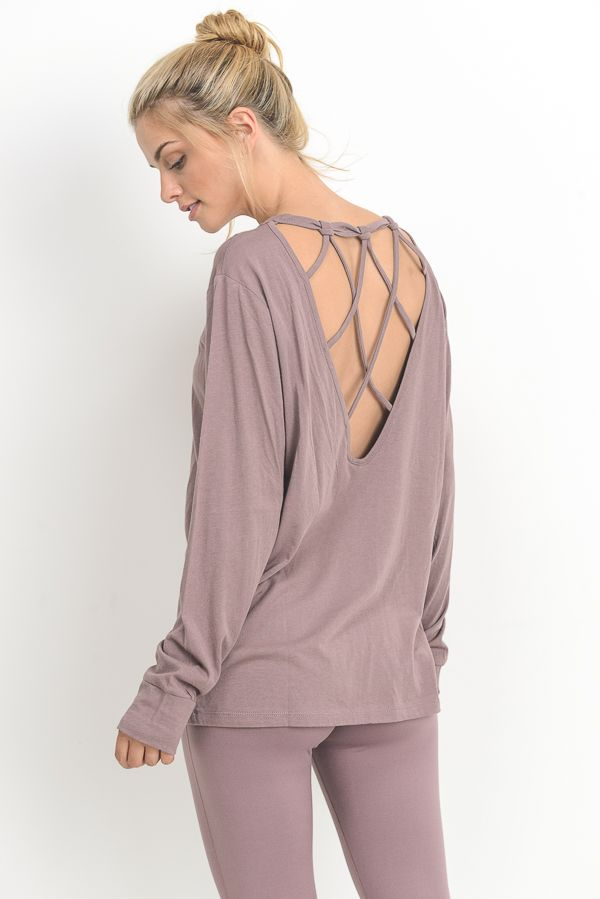 Mauve Long Sleeve Strap Back Cutout Top