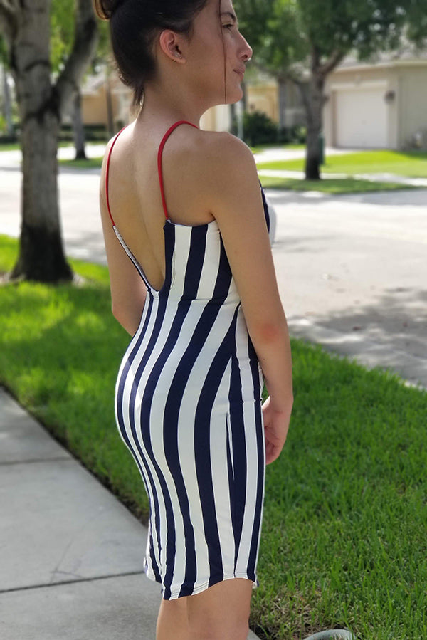 Navy Stripes Sun Dress