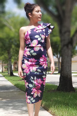 Navy Blue Tiered One Shoulder Floral Midi Dress