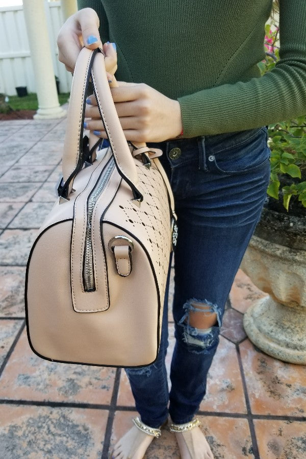 Nude Perforated Handbag Set