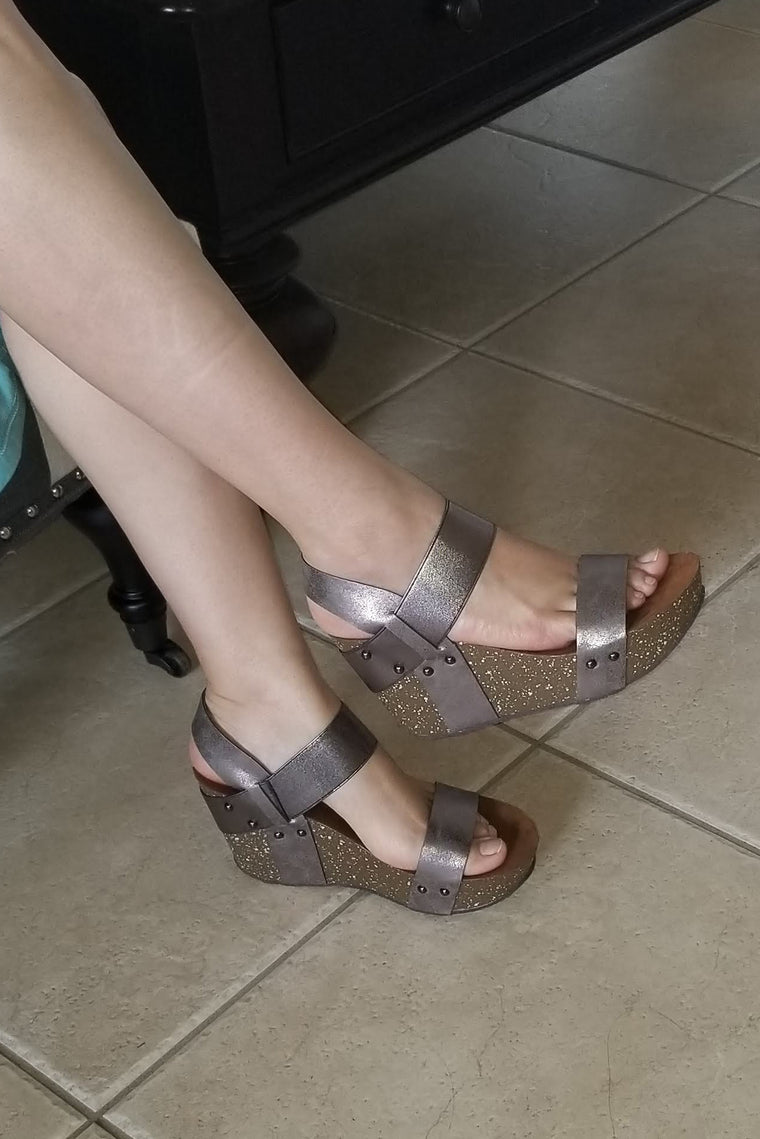Pewter Strappy Platform Wedges