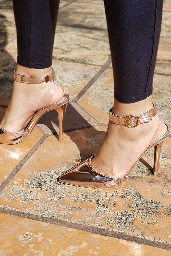 Pink Metallic Ankle Strappy Heels