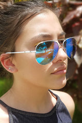 Silver Aviators Mirrored Sunglasses Blue Lens