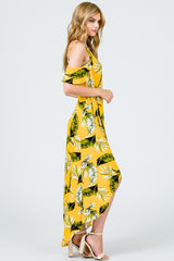 Yellow & Green Tropical Print Wrap Dress