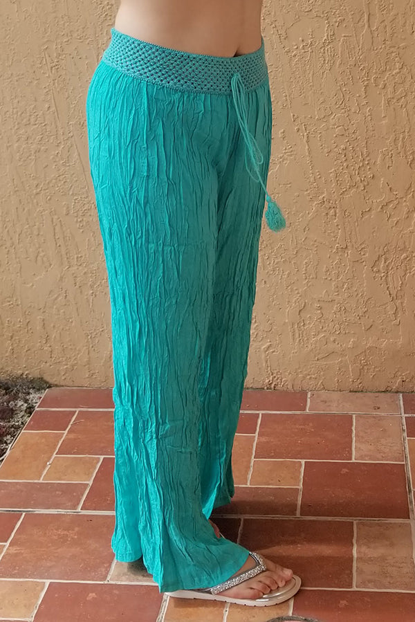 Turquoise Crinkle Pants with Crochet Band