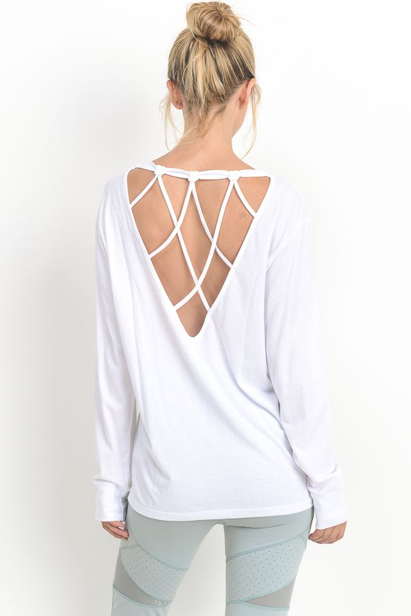 White Long Sleeve Strap Back Cutout Top