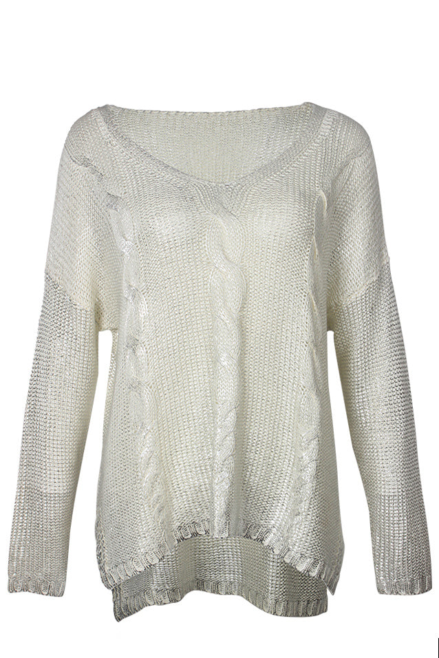 White & Silver Metallic Sheen Cable Knit Sweater