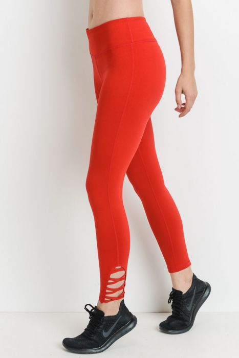 Red Lattice Strap Full Leggings