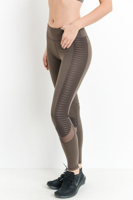 Brown Moto Glide Mesh Full Leggings