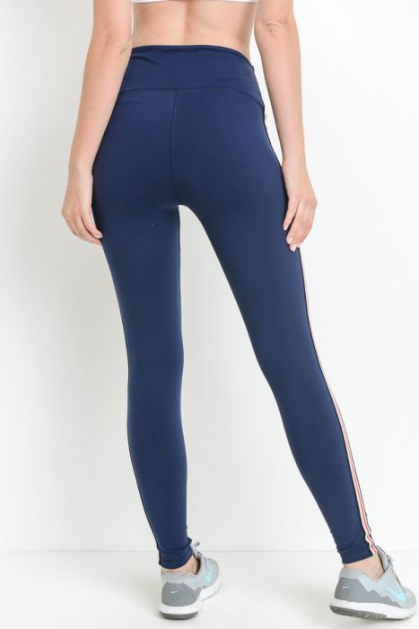 Navy Highwaist Perforated Contrast Side Full Leggings