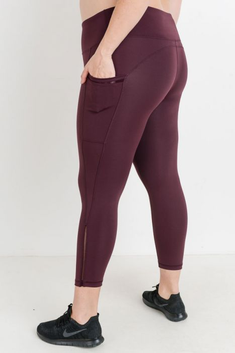 PLUS Highwaist Side Mesh Slit Detail in Plum