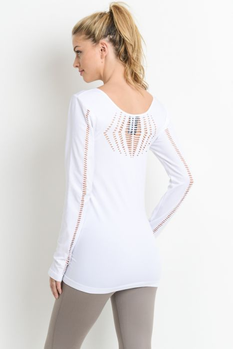 White Seamless Diamond Perforated Long Sleeve Top