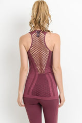 Plum Lattice Combo Detail Tank Top