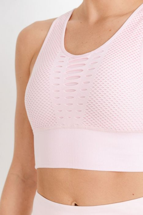 Pink Laser Cut Seamless Sports Bra