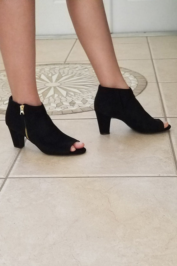 Black Suede Peep Toe Ankle Booties