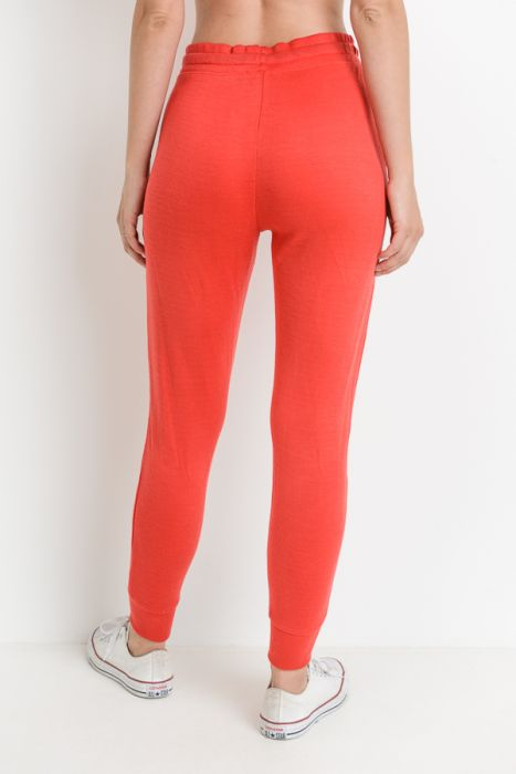 Red Tapered Drawstring Modal Joggers