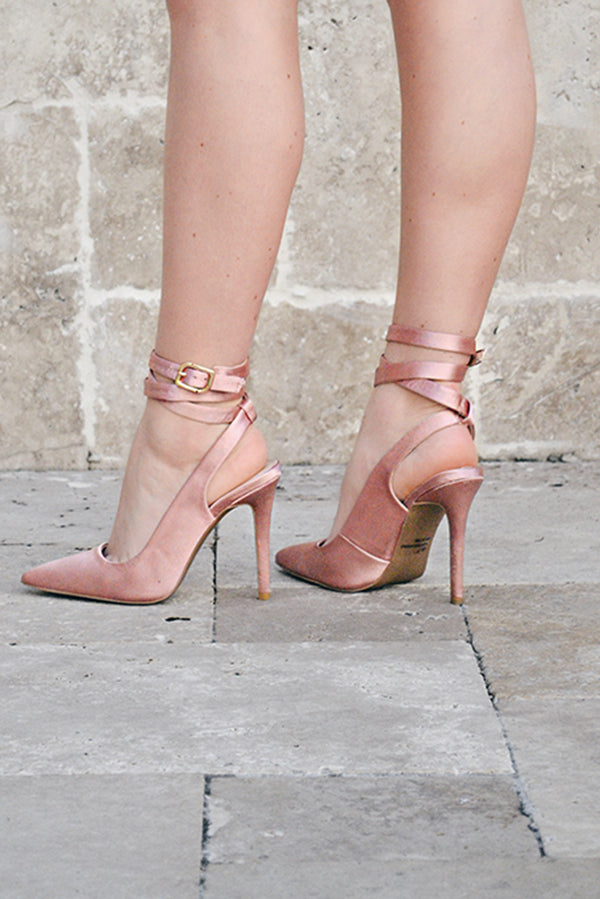 Mauve Wrap Around Pointy Toe Heels