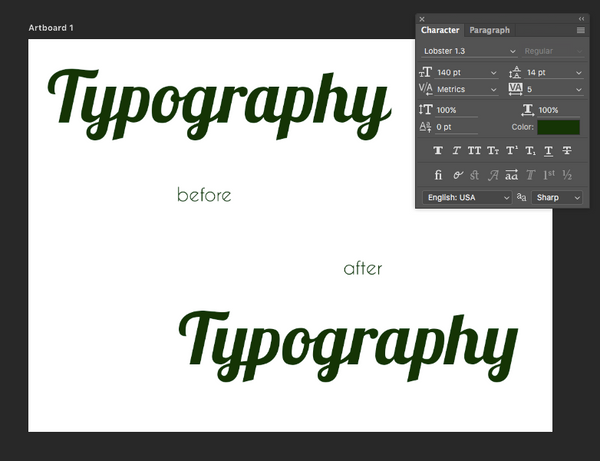 Photoshop Ligatures