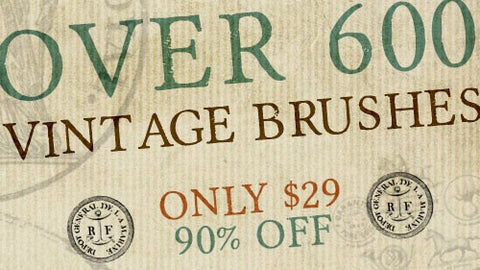600+ Authentic, Vintage Photoshop Brushes - Only $29 - MyDesignDeals