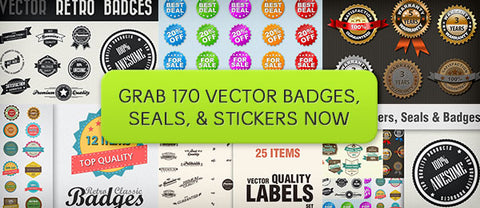 170 Badges, Seals, and Stickers - Only $8 - MyDesignDeals