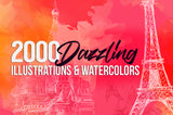 2000 Dazzling Illustrations and Water Colors - Only $19 - MyDesignDeals