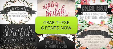 6 Fun Fonts from Printable Wisdom (with Webfonts) - Only $29 - MyDesignDeals