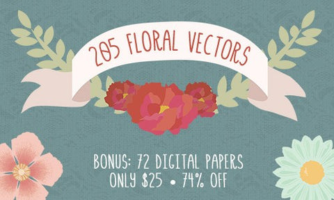 205 Floral Vector Designs + 72 Bonus Digital Paper Patterns - Only $25 - MyDesignDeals