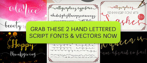 2 Hand Lettered Script Fonts, Plus Bonus Vectors - Only $15 - MyDesignDeals