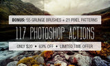 117 Photoshop Actions, 55 Brushes, and 21 Pixel Patterns - Only $20 - MyDesignDeals