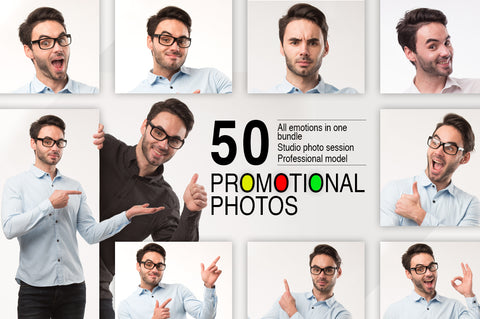 Professional Photo Pack-of Model Emotions (50 Pack) - MyDesignDeals
