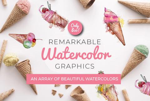 Remarkable Watercolor Graphics - Just $39! - MyDesignDeals