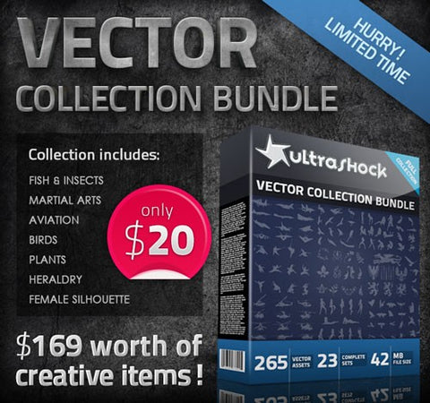 Ultrashock Vector Variety Pack and Bonus - Only $20 - MyDesignDeals