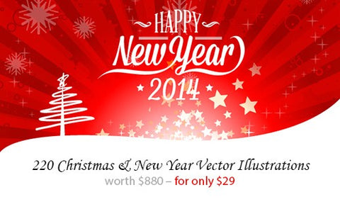 220 Christmas and New Year Vector Illustrations - Only $29 - MyDesignDeals