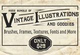Huge Bundle Of Vintage Illustrations - MyDesignDeals