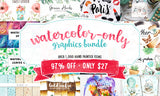 The Big Watercolor-Only Graphics Bundle - Only $27 - MyDesignDeals