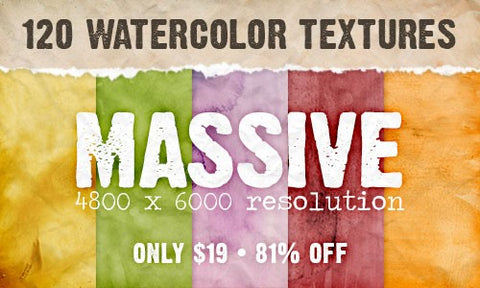 120 Ultra High Resolution Watercolor Textures - Only $19 - MyDesignDeals