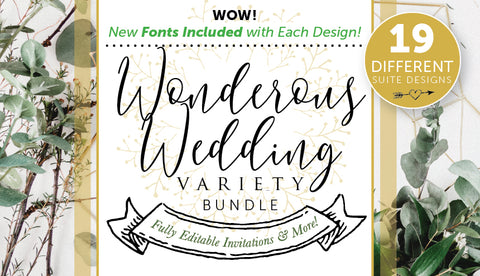 Wonderous Wedding Invitation Variety Bundle (Fonts Included!) - Only $39 - MyDesignDeals