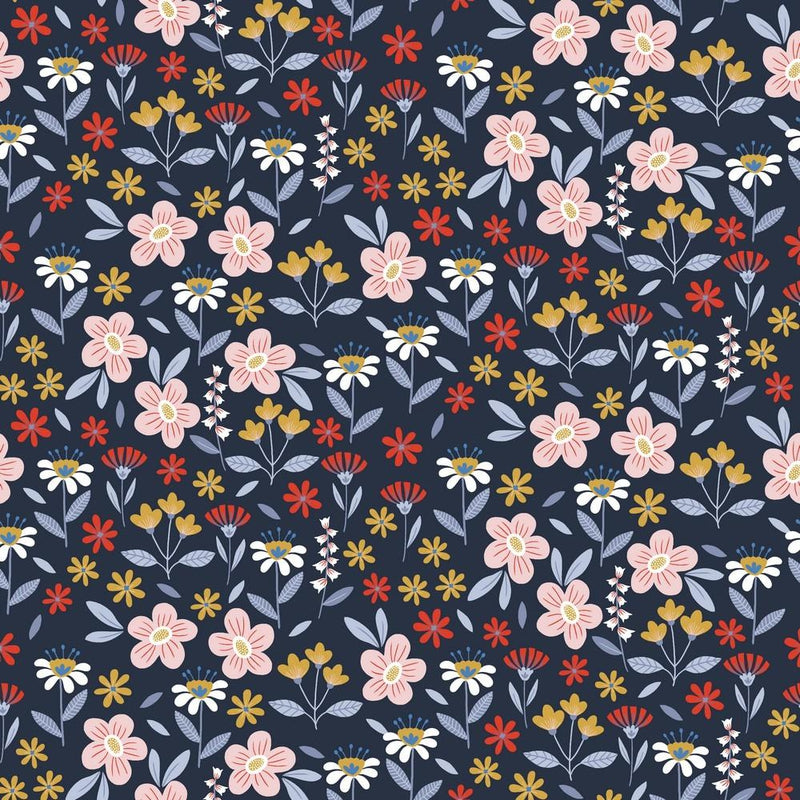 Flowers in Navy Cotton Poplin - Lilly and Mimi Fabric Shop