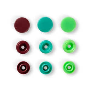 COLOUR SNAP FASTENER - PRYM LOVE - 12.44 MM, GREEN/LIGHT GREEN/BROWN