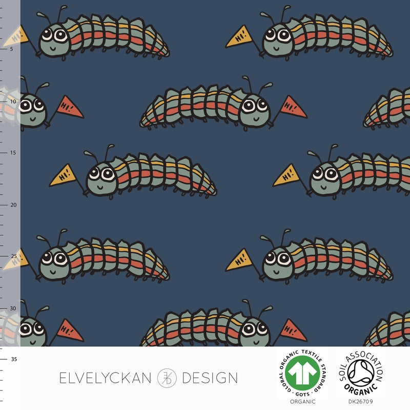 LARVA - DARK BLUE ORGANIC COTTON JERSEY BY ELVELYCKAN DESIGN - Lilly and Mimi Fabric Shop