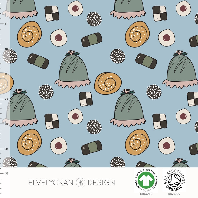 FIKA - SKY BLUE ORGANIC COTTON JERSEY BY ELVELYCKAN DESIGN - Lilly and Mimi Fabric Shop